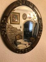 Antik fa faragott,rózsás aranyozott ovális tükör csiszolt szélű tükörrel
