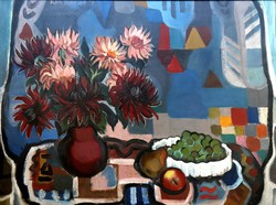 Kakusz Dalma: csendélet keretezett olaj, vászon festmény 80 x 60 cm