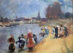 Dombrovszky László: Víz mellett keretezett festmény, hibátlan állapotban