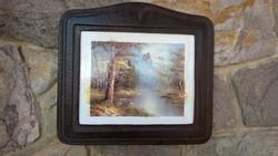 Bőrkeretes falikép-tájkép 70/80-as évekből 31x34 cm