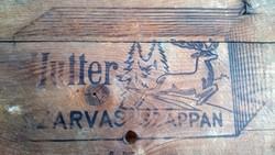 Régi eredeti HUTTER szappanos láda szarvasszappan reklám dekor láda pakoló ülőke