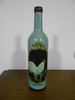 Boros díszüveg palack kakas mintás