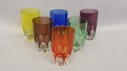 Szép régi vastagfalu színes poharak