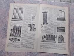 Litografie Meyers,1904, Gepek,Leuchtgasbereitung