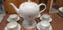 Herendi teás készlet, ETON, PC, mályva virág, alma virág