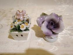 Nagyon szép, jelzett porcelán virág és virágkosár