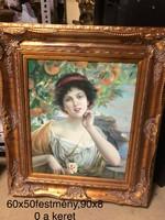 Nő gyümölcsfa alatt -impresszionista festmény