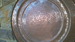 Giant oriental handcrafted copper tray - wall tray, table top dia.66 Cm 3 kg!