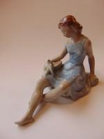 Drasche porcelán madarat etető lány
