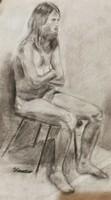 Kondor Béla : Krisztusi kor ( tanulmány rajz ) Mérete:60x75 cm.