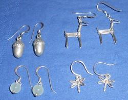 4 pár aprócska alkalmi ezüst fülbevaló