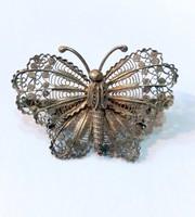 Antik nagyméretű ezüst pillangó/lepke bross filigrán technika