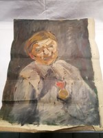 Férfi alak kitüntetéssel olaj-vászont festmény