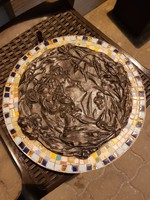 Érdekes, szecessziós gipsz dombormű-konstelláció, mozaik kerettel
