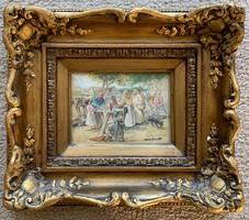 Deák Ébner Lajos szignóval Vásári jelenet