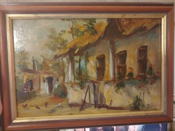 Zsíros Zoltán festőművész TANYAUDVAR tájkép olajfestménye   36 x 26 cm