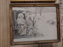 Jézus születése selyem alapra készített festmény 28 x 22 cm