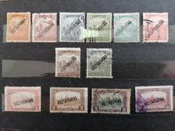 1918 KÖZTÁRSASÁG felülnyomás ARATÓ-Parlament bélyegen