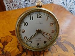 Utazó óra, asztali óra, ébresztő óra, svájci, mutatós, hibátlan, 8 napos, működő, halk járás