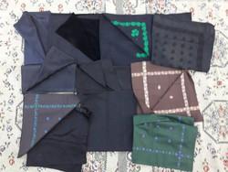 11 db paraszt kendő, fejkendő - paraszti népi ruhák - múlt századi, házilag készített, szegett ruhák