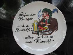 Vicces osztrák fali tányér, népi, vadászos