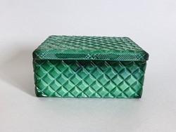 Gyönyörű,smaragdzöld malachitos üveg ékszertartó,bonbonier