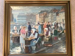 Nagyméretű Halpiaci Forgatag Nygaard Festmény
