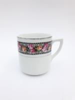 Jelzetlen Zsolnay rózsás porcelán bögre - antik fajansz csésze