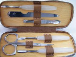 Manikűr (Solingen DUP) készlet bőrtokban, 6 db-os