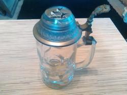 Antik prizmás fedelü üveg sörös korsó