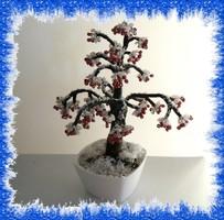 Gyöngyből készített téli fa GYV18-1