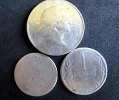 3 x ezüst érme 2 Pengő,20 Krajcár, 1 Pengő lot