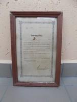 Antik Iparengedély tej árusításhoz üvegezett képkeretben 24,5*37 cm