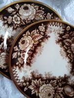 Jardiniere Amberg antik fajansz süteményes tányérok hibátlan aranyozással