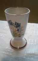 Mezei virágos kerámia talpas pohár   13 cm