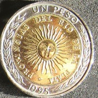 "Argentina 1 Peso, 1995 Verdejel ""B"". helytelen ""PROVINGIAS"" felirattal"