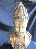 BUDDHA ANYJA Májá a sákja királynő ( Májádéví ) JELZETT RÉSZLET GAZDAG ANTIK NEHÉZ RÉZ SZOBOR