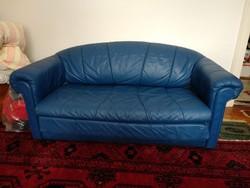 Bőrkanapé, kis kék kihúzható ágyazható valódi bőr kanapé
