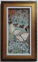 """Fehér Kornélia """"Pillangók kertje"""" c. keretezett tűzzománc ingyenes házhoz szállítással"""
