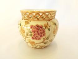 Zsolnay kézzel festett virágos kaspó. Hibátlan!  (Sz.: 40.)