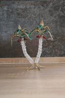 Pálmafa liget dupla parfüm tartó üveg kézzel festett    17 cm magas