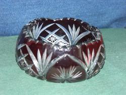 Metszett, rubinvörös, levélmintás ólomkristály bonboniere