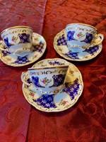 Zsolnay Marie Antoinette arannyal tollazott kék öttornyú kávés csésze 3 db