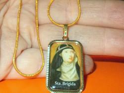 Szent Brigitta védőszent töltött Arany GF. Nyaklánc