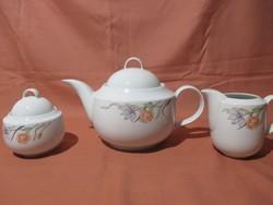 Retro Alföldi teás kínáló szett, kiöntő, cukortartó rózsa-írisz mintával