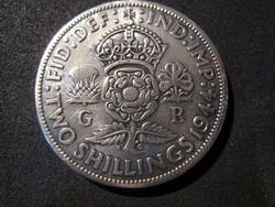 Egyesült Királyság, 2 Shilling (Florin), 1944 0,500/1000 ezüst érme VF