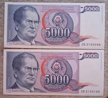 Jugoszláv hajtatlan sorszámkövető 5000 Dínárok