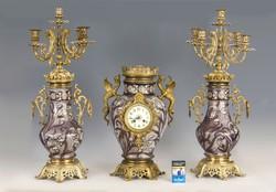 Art nouveau kandalló óra szett