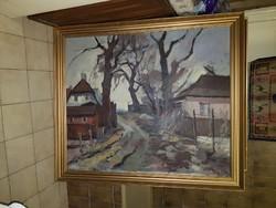 Beth Bernhardt-nak tulajdonított, nagy festmény, jó állapotú, 98x116, keret: 112x129