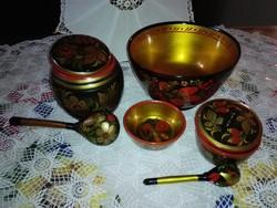 Antik, orosz fa,kézzel festett edény szett.